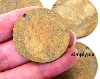 Large Stamping Tags Antiqued Brass 2 Pcs Blank Tags Charms Boho Charms