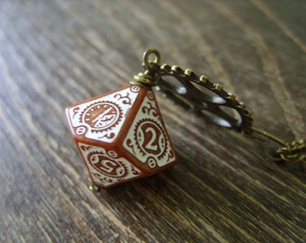 D10 steampunk dice pendant steam punk necklace steampunk jewelry clockwork dungeons and dragons game gamer geeky polyhedral toothed bar