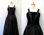 1950s Vintage Silk Faille & Cotton Velvet Dress / Black Dress with Bow on Waist-RESERVED for Amy