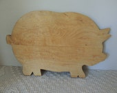 Country Pig Cutting Board. Primitive Piggy Chopping Board. Chubby Hog Kitchen Decoration. Wood Serving Board