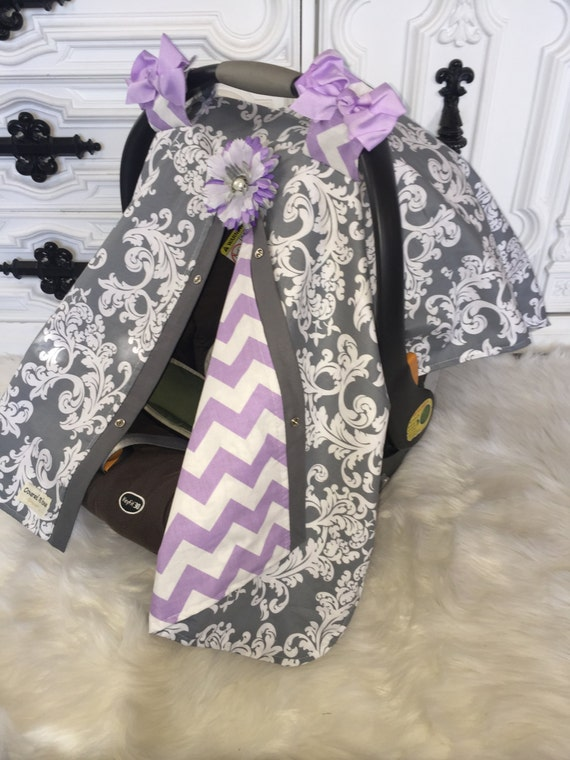 Carseat Canopy Lavander and Grey  STUNNING / Car seat cover / car seat canopy / carseat cover / carseat canopy / nursing cover