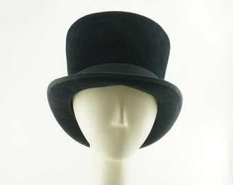 TOP HAT in Black Fur Felt / Handmade MONOPOLY Hat / Handmade by Marcia Lacher Hats