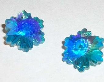 Clearance Snowflakes Blue Crystal Pendants 14mm Celestial crystal pendants 2 pieces Light Blue AB