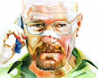 Walter White (Bryan Cranston) Breaking Bad Print from original Watercolor Art Painting, portrait painting, watercolor portrait
