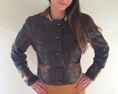 RESERVED 1940s Cropped Leather Jacket Small