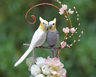 Romantic Spring Cockatiels Wedding Cake Topper in Pale Pink and Cream