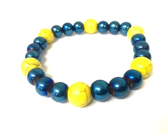 Bracelet - Stretchy - Teal Blue and Yellow - Bright - Elastic - Versatile