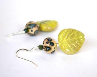 Leaf Earrings, Green Earrings, Glass Bead Earrings, Lampwork Earrings, Fall Autumn Earrings, Artisan Earrings, Boho Earrings