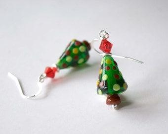 Christmas Tree Earrings, Colorful Earrings, SRA Lampwork Earrings, Festive Holiday Earrings, Glass Bead Earrings