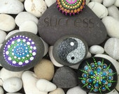 Outdoor Peace Rock or Yin Yang, Spiral Painted Dotty Rock