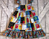 Girls Back To School Dress- School Dress- Toddler Dress- Sundress- Sizes 2 3 4 5 6 7 8 Years- School Pictures