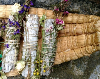 Organic White Sage Smudge Sticks (2 pack) with wildflowers and rosemary for energy clearing