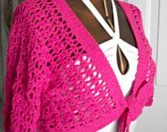 Bubblegum Pink Lacy Crocheted Crop Top, Women/Teens by AngelAndFairyDesigns on Etsy.com