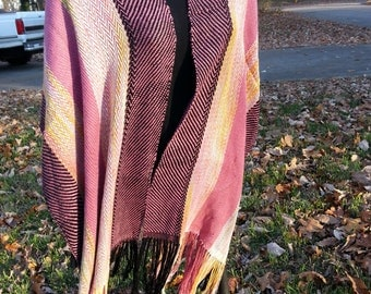 Versatile V Shawl in Berry with painted sections
