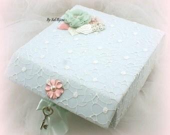 Wedding Keepsake Box, White, Blush, Mint, Memory Box, Elegant Wedding, Vintage Style, Bridal Gift, Lace Box, Pearls, Gift, Room Decoration