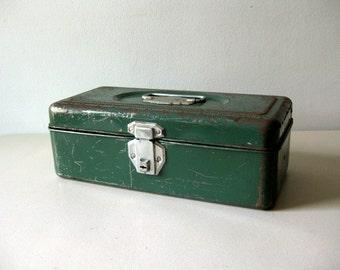 Vintage green metal tackle box Industrial style metal tool box