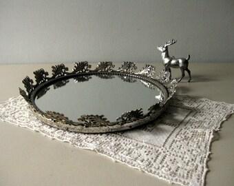Vintage round mirror tray dresser tray mirrored tray boudoir tray Silver frame mirror