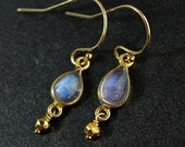 ON SALE Teardrop Rainbow Moonstone Earrings - 14k Gold Fill - June Birthstone