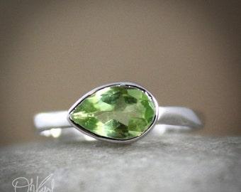 25% OFF Silver Green Peridot Ring - Side Teardrop - August Birthstone Ring