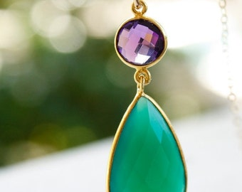 40 OFF SALE Gold Green Onyx and Purple Amethyst Quartz Necklace - Classic Teardrop - 14KT Gold Fill