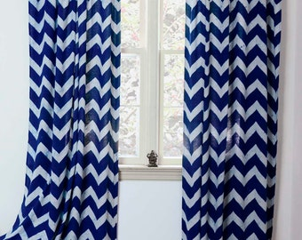 "Blue Chevron curtains zig zag curtain modern curtain panel ONE panel - 44""w x 84"", 108""L - Indigo Block Printed Natural dyes *ON SALE*"