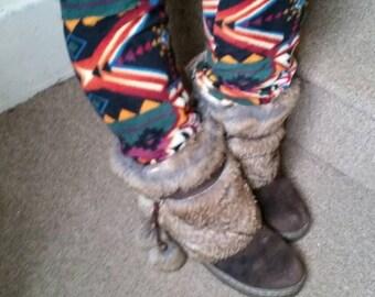 Tribal print fleece legwarmers, over the knee,soft fleece