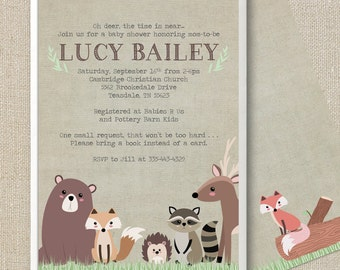 Woodland Animals - Oh Deer - Baby Shower Invitation - Digital Printable File - Double-sided Muted