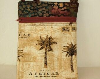 Mini purse. Crossbody bag, Mini messenger and cell phone bag- African print  zip bag with coordinating zipper and batik top KBD10130