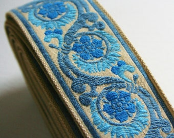 Vintage Upholstery Trim 3 Tone Blue Delft 5 Meters Floral Scroll Motif