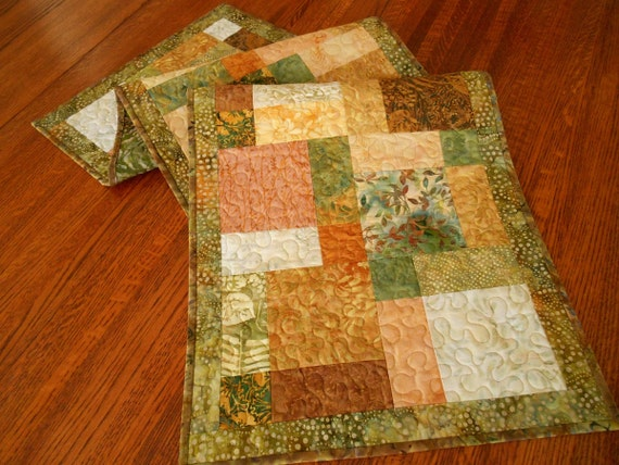 Quilted Batik Table Runner in Shades of Gold Peach Green and Brown, Island Batik Sweet Georgia Peach, Quilted Table Mat, Quilted Tablecloth