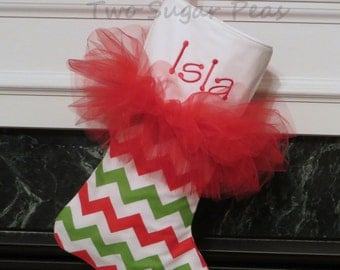 Personalized Tutu Stocking Kids Christmas Stockings Personalized Chevron Stocking Polka Dot stocking