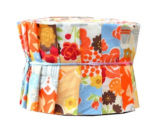 "Quilt Jelly Roll Fabric Strips 2.5x44"" 20 Strips Cute Scandinavian Floral Orange Tone"