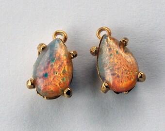 Vintage Glass Faux Opal Pendants 2 Fire Opal Tear Drop Pear Shaped Beads 13x8mm