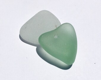 Drilled Sea Glass  Sea Foam Natural Heart Shape Big And Thick Pendant (209)