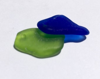 2 Small Sea Glass Pendants  Lime and Cobalt Drilled sea glass For Jewelry  English Sea Glass  (226)