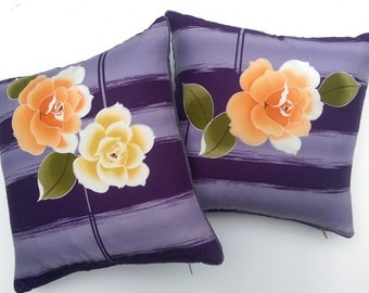 Pair of cushions made from vintage kimono fabric/lavender velvet backing