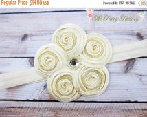 Ivory Flower Headband, Posh Creamy Ivory Beaded Satin Swirl Flower Headband or Hair Clip, Baby Toddler Child Girls  Headband