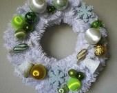 Handmade Christmas ornament door wreath, Mid-century color palette, vintage ornaments.