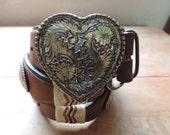 tony lama heart belt. 1970's woven leather conch / floral heart buckle, 32.