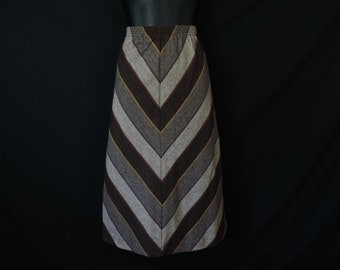 brown chevron skirt, 70's striped a-line, boho casual skirt, medium
