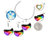 Choice Rainbow Piano Keyboard Earrings or Necklace Rainbow Heart Rainbow Stars