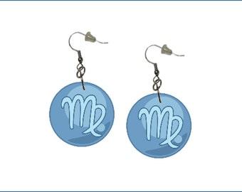Zodiac Earrings Virgo Dangle Earrings Astrology Earrings Zodiac Symbol Virgo