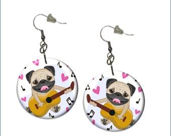 Pug Earrings Country Rock Guuitar Pug Earrings