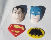 Vintage Large Retro Batman and Superman Cake Toppers