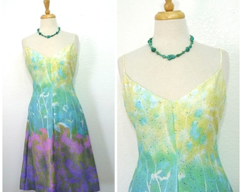 Vintage 1950s Dress Galaxy print Lee Jordan Spaghetti straps Summer Party Dress