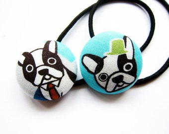 Button Ponytail Holders - French Bulldogs - Button Hair Ties