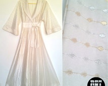 Vintage 70s Fancy 2-Piece White, Gold and Silver Lame Robe with Nightgown - Sparkly!