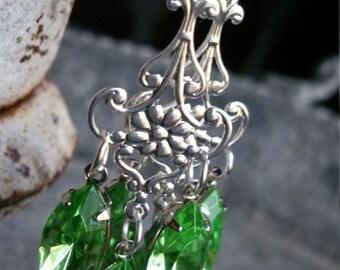 Earrings romantic chandelier peridot green Victorian neo classical