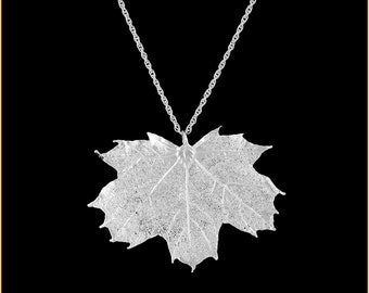Real Sugar Maple Leaf Dipped In Silver Pendant - Real Dipped Leaf - In Gift Box