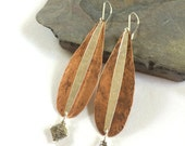 OOAK Mixed Metal Earrings , Long Statement Hammered Copper and Silver Earrings